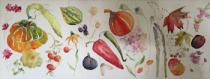 Autumn Fruits, flowers and vegetables arranged along a long panel