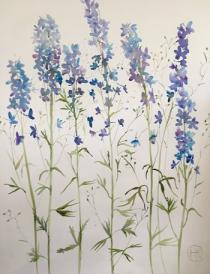 Blue/mauve delphiniums against a white background on prepared canvas