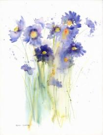 Blue/mauve scabious flowers with green stems