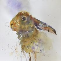 Profile of hare with blue/mauve background