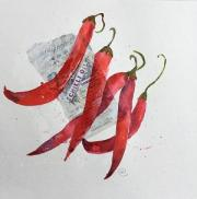 Five red chillies against a collaged label