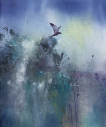 Bird flying upwad from reeds and early morning mist