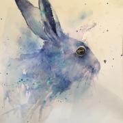 Blue mauve hare in profile against a white background and loosely defined body