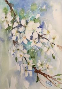 White blossom against blue background with ink stems